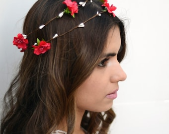 THE NIA - Red Flower Crown Floral Hair Wreath Woodland Rustic Circlet Bride Wedding Romantic Elegant Flower Girl Spring Christmas Crown