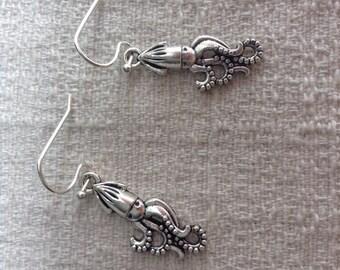 Squid Earrings, silver squid earrings, squid jewelry