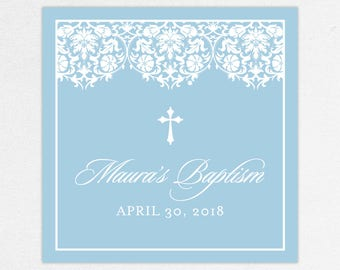 Baptism Favor Tag, Baptism Favor Label, Christening Favor Tag, Christening Favor Label, Printed, Floral, Damask, Lace, Girl, Blue, Maura