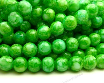 Dark Green Round Glass Beads - 8mm Smooth Mottled Beads, Shiny Colorful Bohemian Beads - 25pcs - BL13