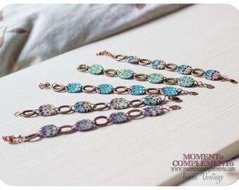 bangle links bracelets polymer clay & bronze copper. Handmade vintage retro style