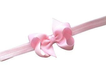 Light pink baby headband - light pink bow headband, baby headband, newborn headband, baby girl headband, infant headband, baby bows