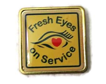 Fresh Eyes on Service Vintage Enamel Pinback Union Made Lapel Pin Tie Tack Hat Pin