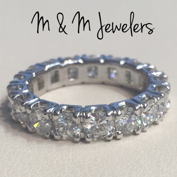 14K White Gold Diamond Total Weight 3ct Eternity Band