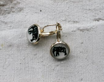 Elephant Earrings, Illustration Dangle, Elephant Jewelry, Animal Earrings