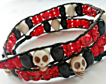 Handmade Double Wrap Hemp Wrap Bracelet or Hemp Choker with Skulls, Black Glass, and Red Glass Beads