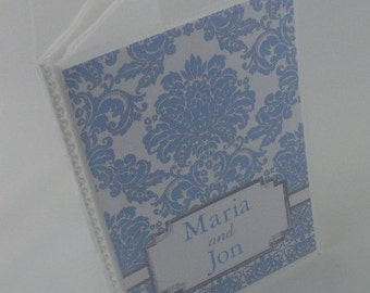 Wedding photo album 5x7 or 4x6 picture blue damask engagement anniversary bridal shower gift  065