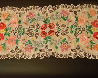 Traditional Hungarian Vintage Hand embroidered cover KALOCSA design/Folk Art/ hand made/Eastern European/decorative tablecloth/Embroidery
