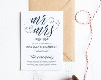 Navy Blue Wedding Program Template, Rustic Wedding Ceremony Program, Instant Download PDF template, Kraft Wedding Program, WPC_604