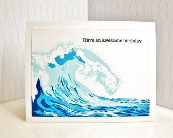 Wave Birthday Card, Tidal Wave Birthday Card, Surfer Birthday Card, Ocean Birthday Card, Sea Birthday Card, Coastal Birthday Card,