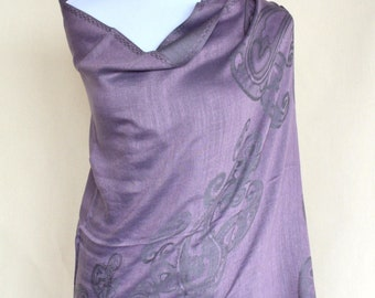 Purple Pashmina Scarf / neck scarf / pashmina wrap / dress scarf / evening scarf / Gift for her for wife for Girlfriend for mom for coworker
