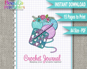 Crochet Journal Planner, Printable Crochet Journal, Crochet Notebook, Printable Planner, Printable Journal, Printable PDF, Instant Download