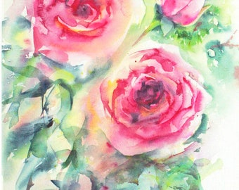 Red Roses Card, Blank Greeting, Watercolour Card, Watercolor Card, Rose Card