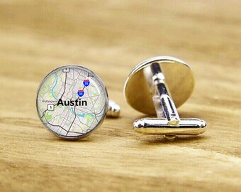austin map cufflinks, custom anywhere map cuff links, austin cufflinks, map cufflink, Texas map cufflinks, round, square cufflinks, tie clip