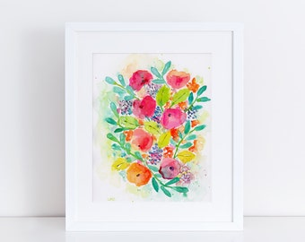 Floral Watercolor Print, Flowers, Bouquet, Fine Art, Modern Art, Ink, Garden Floral, Abstract Art, Bohemian