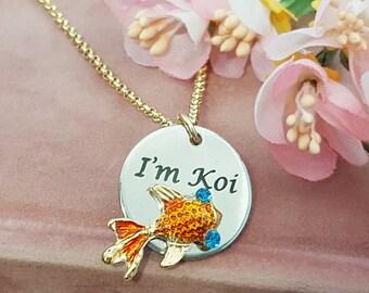 Koi Fish Necklace, Goldfish Necklace, Orange Necklace, Girlfriend Gift, Fish Jewelry, Fish Pendant, Koi Necklace, Romantic, Japanese, N9300
