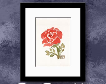 5x7 inch Rose Watercolor Original Painting - One of a Kind - OOAK