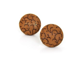 Brown fabric earrings - brown button earrings - gift for her - stud earrings - tiny vintage style earrings - tribal studs - boho chic studs