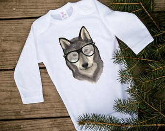 Hipster Animals, Hipster baby clothes, Cute baby bodysuit, Wolf baby, Wolf pack, Woodland baby shower, Woodland nursery, Husky, Baby gift