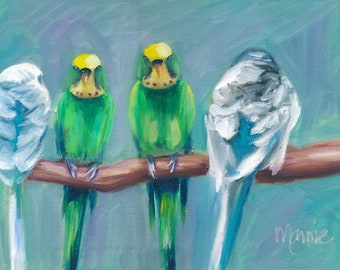 The conversation, oil painting, parakeets