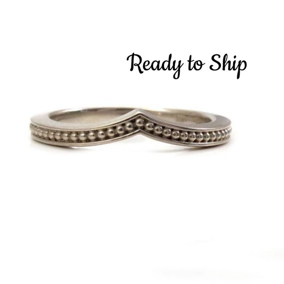 Ready to Ship Size 5 - 7 - Modern Chevron Millgrain Nesting Band Midi Knuckle or Engagement Ring - 14k Palladium White Gold Wedding Band