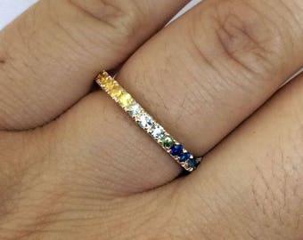 R122 Genuine 9K, 10K, 14K, 18K SOLID Yellow Rose or White Gold NATURAL Rainbow Fancy Sapphire Full Eternity Ring Wedding Anniversary