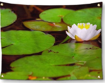 Lake Tapestry-Boho Wall Decor-Lily Pad Wall Art-Lightweight Tapestry-Flower Tapestry-Canvas Wall Hanging-Green Wall Hanging-Outdoor Tapestry
