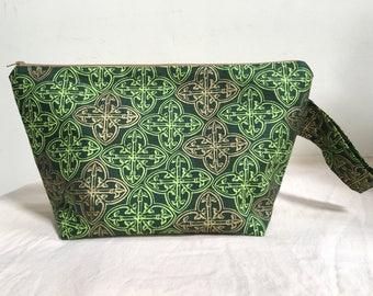 Knitting Project Bag, Sock Bag, Project Bag, Small Project Bag, Zipper Bag, WIP, St. Patricks Day Project Bag, Irish Inspired