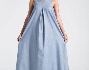 Maxi Dress / Summer Dress / Oversize Dress / Long Dress / Cotton Dress / Sleeveless Dress / Designer Dress / Marcellamoda - MD0692