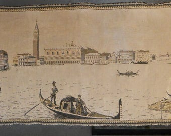 1930's Vintage Wall Hanging Tapestry Venice Italy with Gondolas