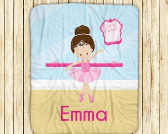 """Personalized Sherpa Blanket - Ballet Class Ballerina Crown Ballet Room, Sherpa and Micro Mink Fabric, 50"""" x 60"""", Custom Design Throw Blanket"""