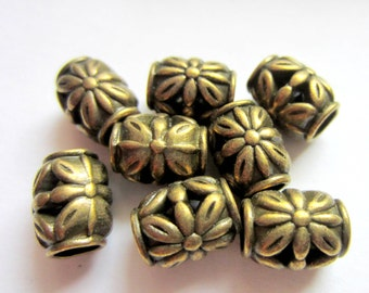 24 pc Metal beads antique bronze textured spacers beads large hole 10mm x 11mm F0853Y-Z6