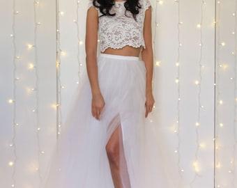 WEDDING TULLE SKIRT, white tulle skirt with split, bridal separates, alternative wedding dress, long tulle bridal skirt, white tutu skirt
