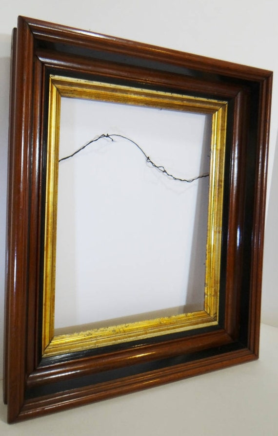 SALE Large Vintage Frame Wooden with Gold and Black Trim Glossy ...