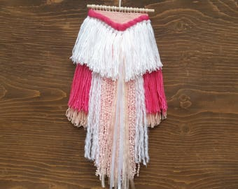 Pink and White - Small Weaving - Woven Wall Hanging - Tapestry