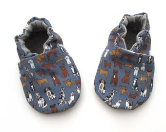 Dog Baby Shoes // Blue Eco-Canvas Baby Booties, Gender Neutral Boy, Rubber Sole Baby Shoes, Infant Shoes, Soft Sole Baby Shoes, Newborn