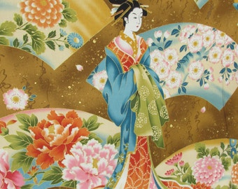 Asian design fabric by the Half Yard, made by Kona Bay, high quality cotton both Geishas and beautiful flowers.