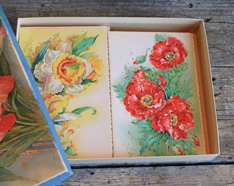 Vintage Box of Greeting Cards, 1940s, Floral, Blank Notecards