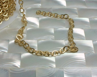 1 Foot Flat Open Link Cable Chain Matte Petite/Small Gold plated Nickel Free Brass chain Jewelry Chain Necklace Bracelet Jewellery Supplies