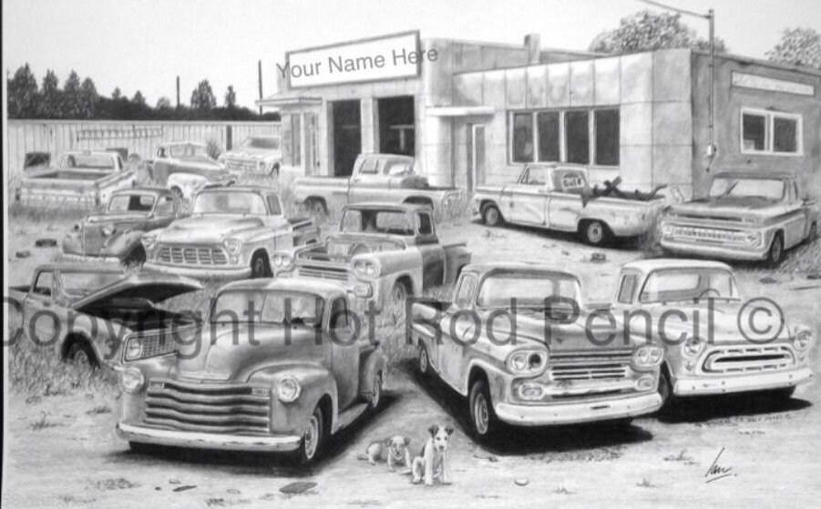 Chevy Pickup Truck Junk Yard Customized Pencil Drawing Print