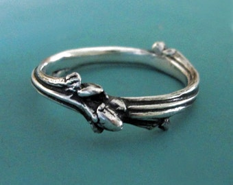 Bague de mariage de brindille en argent Sterling, un rameau de chêne branche mariage ou anneau d'empilage