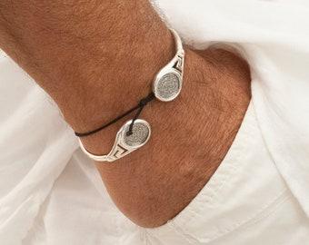 Mens Cuff Bracelet, Phaistos Disc Sterling Silver Greek Key Bracelet, Ancient Minoan Crete Bangle, Wearable Art, Greek Jewelry, Crete Greece