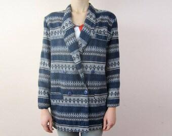 vintage 80's 90's oversize stiped printed blazer M L