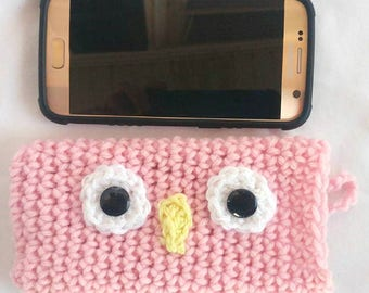 OWL CELL PHONE Pink Cozy Crochet Cover