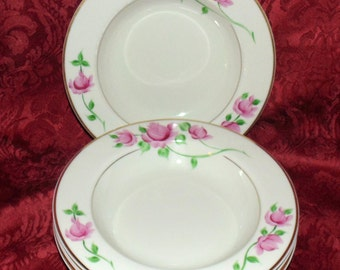 4 RARE Kirk German China Salad Bowls Hand Painted Pattern KIR 4