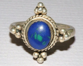 Hand Crafted Silver and Sodalite Ring Size 8