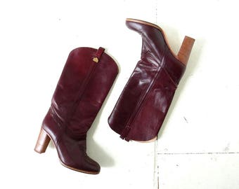 Vintage 70s Boots   High Heel Boots   Italian Leather Boots   Size 8