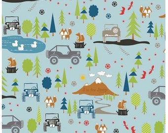 New!!  Riley Blake J is for Jeep Blue Flannel Fabric