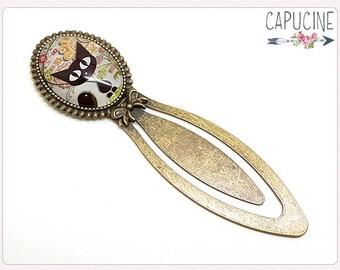 Kitten Bookmark - Black cat Bookmark bronze - Kitten & bird Glass dome