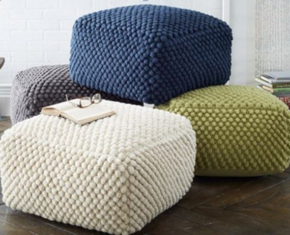 Crochet Grey White Blue Green Pouf Ottoman Knit Stuffed